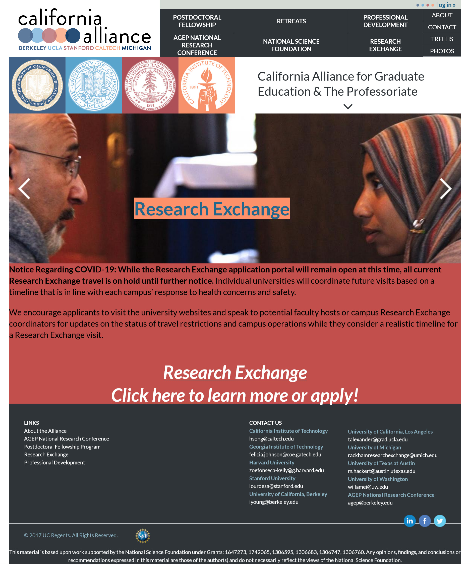 Image is a screen capture of California Alliance.org Homepage for archival purposes. Image includes copy from the homepage and time based announcements that are now outdated.