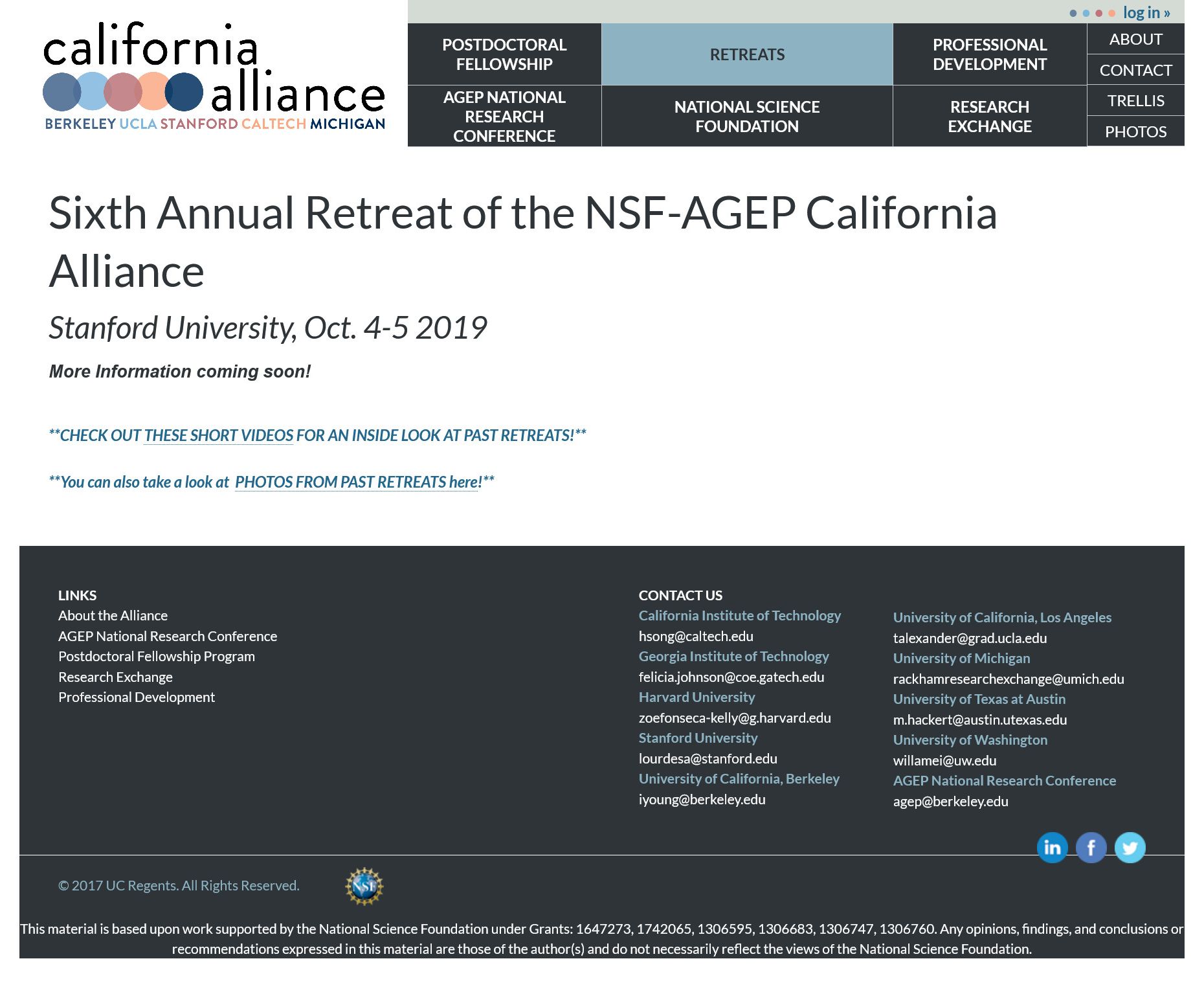 Image is a screen capture of California Alliance.org Retreat Page for archival purposes. Image includes copy from the about page and time based announcements that are now outdated.