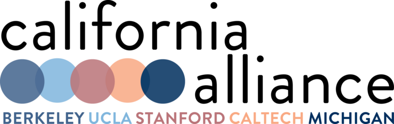 The five color dot logo for the California Alliance repeated to make a square on a white background. Each color represents an alliance university member (from left to right): UC Berkeley, UCLA, Stanford, Caltech, and Michigan.